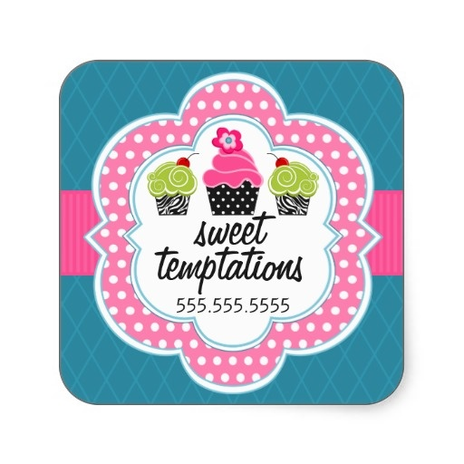 Pink teal cupcake bakery business square sticker