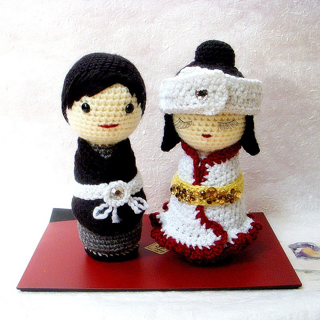 Japanese Wedding-amigurumi Kokeshi doll by TGLD dolls, via Flickr