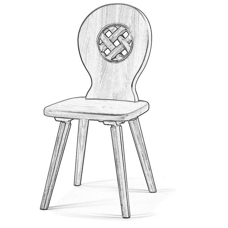 W5190. Sedia rustica in legno massello da verniciare a scelta tra legno di abete o di cirmolo.
