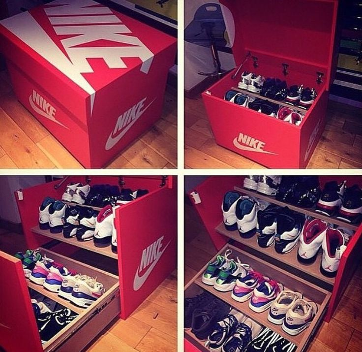 Custom Nike shoe box. http://www.freshnessmag.com/2014/11/07/giant-nike-inspired-sneaker-storage-box/  http://amzn.to/265TRqq