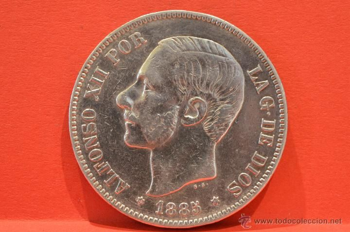 5 PESETAS 1885 *18 *87 MSM ALFONSO XII PLATA ESPAÑA