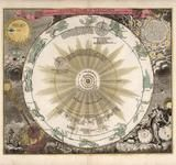 Vintage map from 1742 of the solar system and celestial sphere, by Johann Doppelmayr. Fine art reproductions available at www.arteofthebooke.com