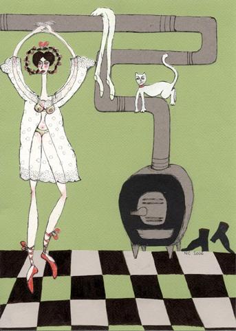 """collage """"donnina con stufa""""  http://diariofigurato.blogspot.it/"""