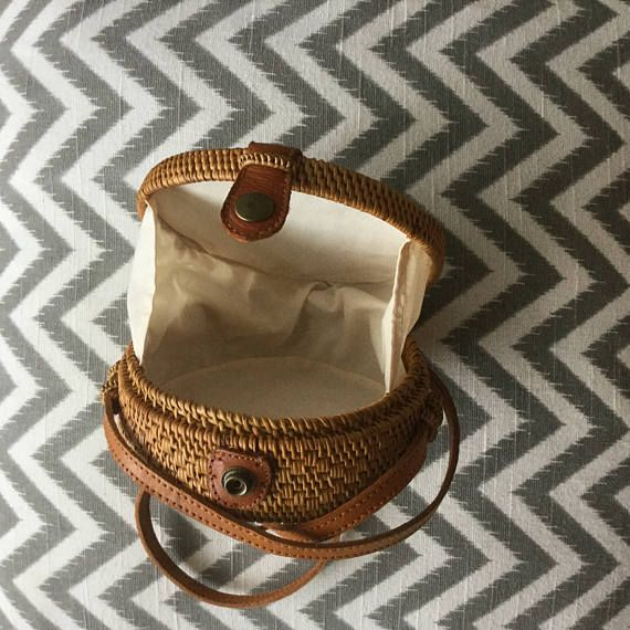 Lipe small round bag with lining round rattan basket bag