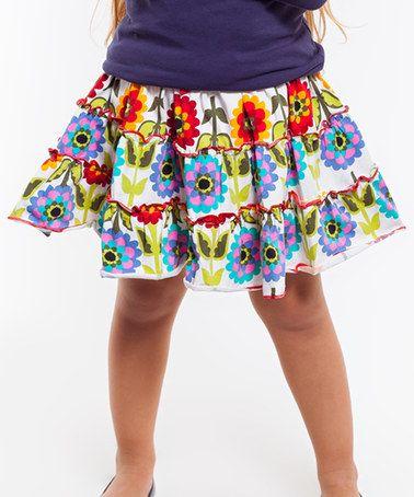 White & Purple Floral Skirt - Infant, Toddler & Girls #zulily #zulilyfinds