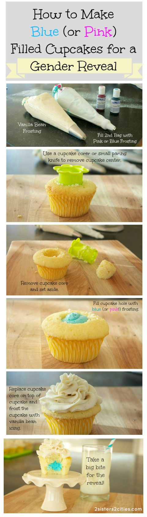 Gender Reveal Cupcakes Tutorial: Make sure everyone takes the first bite at the same time for the surprise reveal!