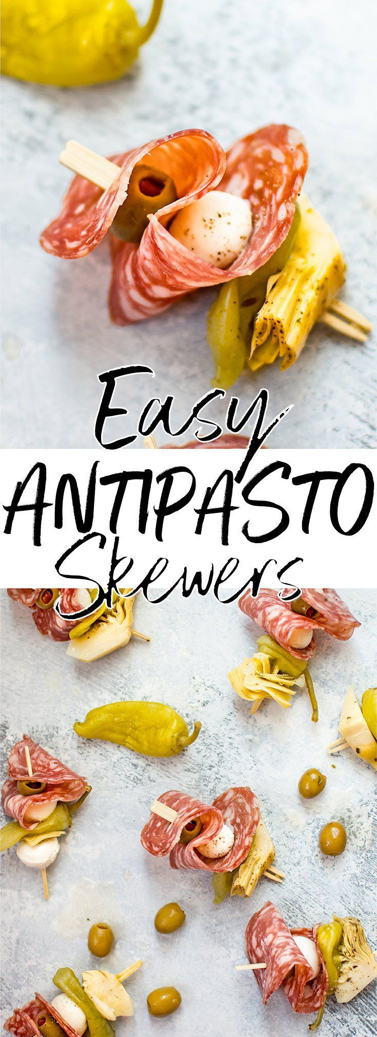 These easy antipasto skewers are fresh, colorful, delicious, and come together fast. They're also simple to store and transport without much fuss. #appetizer