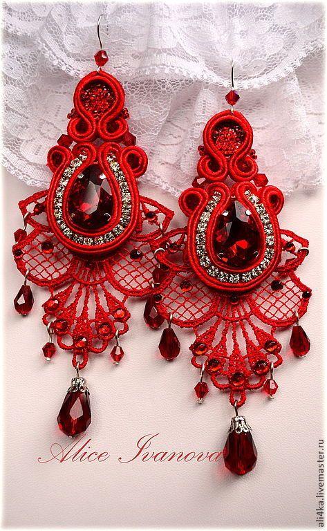 """Купить Сутажный набор """"Марго"""" (серьги и браслет) - ярко-красный, красный, сутажные серьги"""