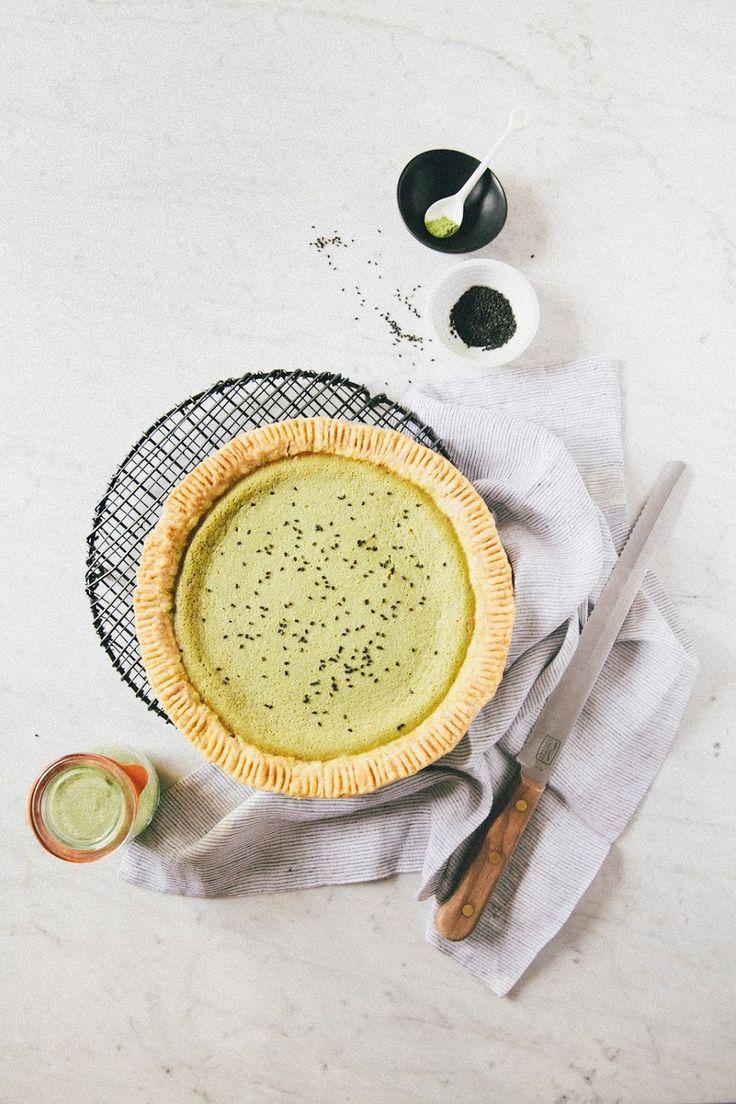matcha buttermilk chess pie - hummingbird high | a desserts and baking blog