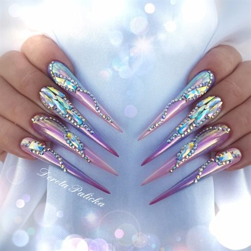 Aurora chrome pigment and Swarovski crystals sculpted gel stiletto nails  Nails by Dorota Palicka International Nail Artist www.nailperfect.net https://www.facebook.com/dorotapalickanails