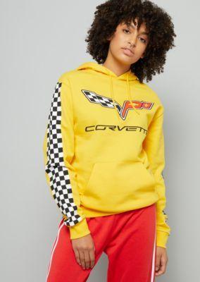 35bda1386 Yellow Corvette Checkered Side Striped Oversized Hoodie | Hoodies | rue21