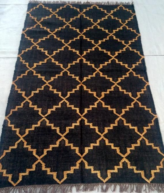 120 X 180cm Handmade Wool Jute Killim Rugs Carpet Crafts Black Color Dye Designer Gold Mattel Zarri Special Christmas C Killim Rug Rugs On Carpet Jute Wool Rug