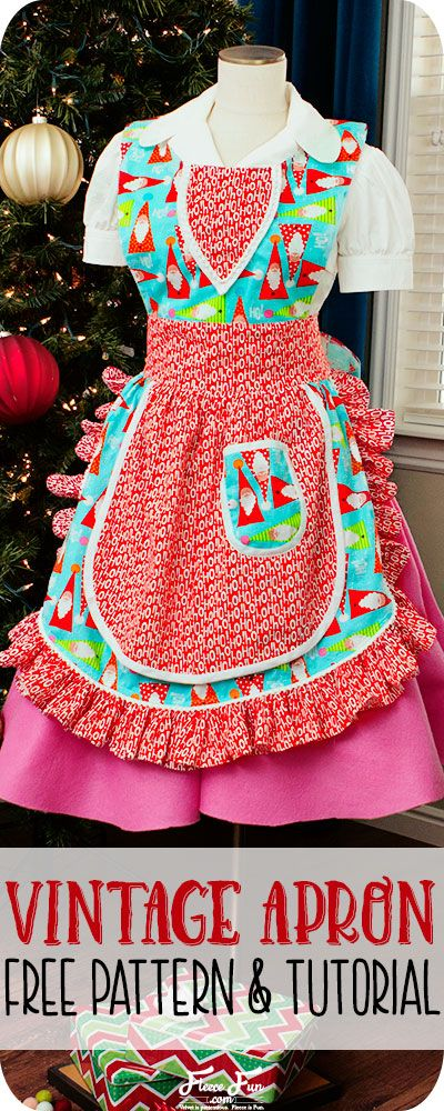 I love this Vintage Apron Pattern Free and tutorial. Perfect sewing project and a great handmade gift idea for women. I love the look of this cut apron pattern. Perfect Holiday idea.#madewithfabric #ad @fabricdotcom
