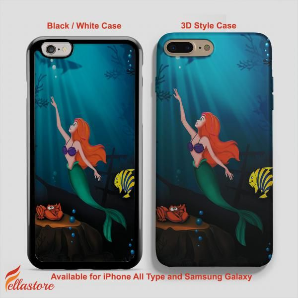 cool Disney Ariel Mermaid on Sea Blue iPhone 7-7 Plus Case, iPhone 6-6S Plus, iPhone 5 5S SE, Samsung Galaxy S8 S7 S6 Cases and Other