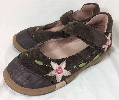 Jumping Jacks Girls Shoes Size 8.5 W Wide Toddler Girls Brown Flower Shoes  | eBay