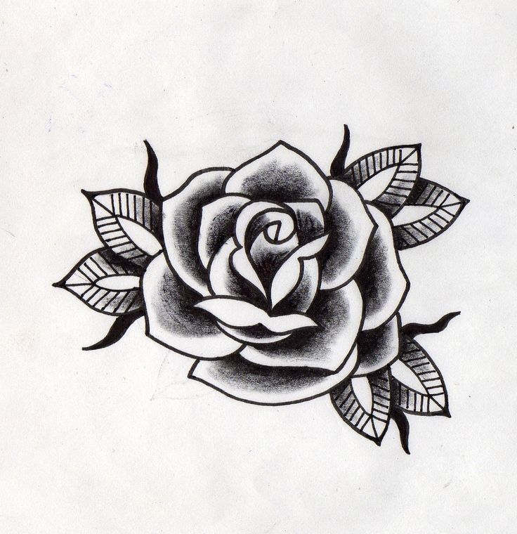 Rosa Negra Tradicional Dibujos Pinterest Tattoos Rose Tattoos