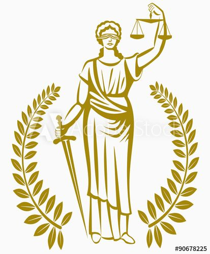 justice . Greek goddess Themis . Equality .  fair trial . Law . Laurel wreath .