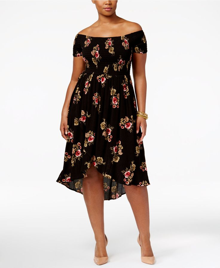 American Rag Trendy Plus Size Off-The-Shoulder A-Line Dress, Only at Macy's - Dresses - Plus Sizes - Macy's