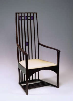 Armchair designed by Charles Rennie Mackintosh for the Music Room at Hous'hill, 1904
