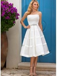 Organza & Lavish Satin Short A-line Strapless Wedding Dress