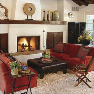 Rev Up Your Living Room With Red   101 Living Room Decorating Ideas    Southern Living. Red Sofas With Cream Rug And Walls.
