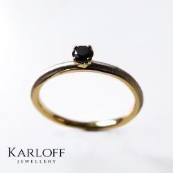 elegancki,czarny diament,delikatny - Pierścionki - Biżuteria