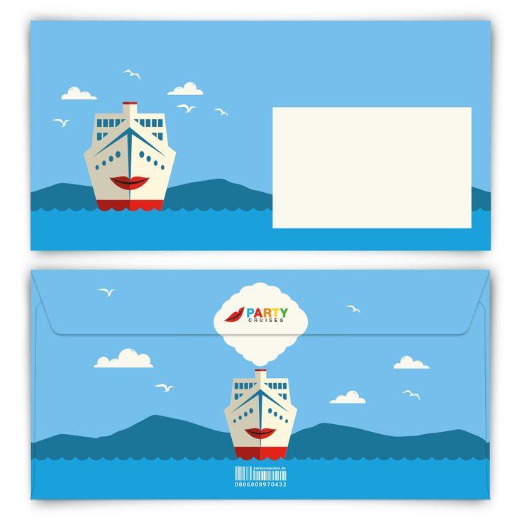 Wir stechen in See! (Briefumschlag, DIN Lang quer) #briefumschlag #papeterie #kreativ #kreuzfahrt #partyboot #party