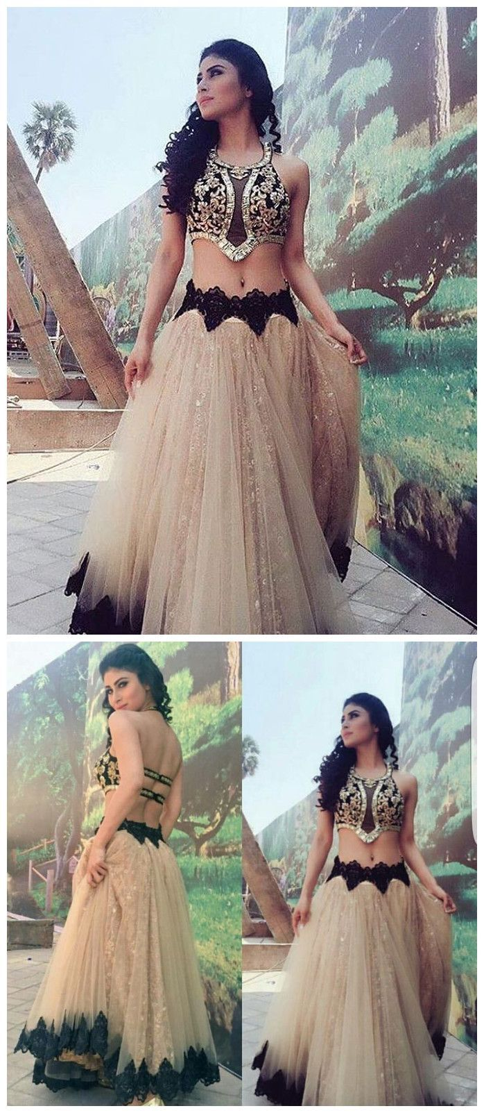 Two pieces prom dress aline sweetheart applique elegant long prom