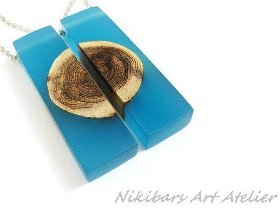 Glow In Dark Twin Necklace, Blue Resin Wood Necklace,  Wood Resin Necklace,Wood Necklace,Abstract, Art Necklace, Modernist Wood Necklace