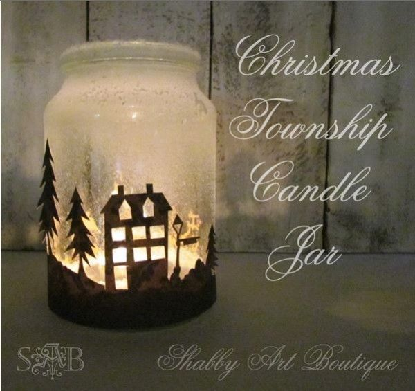 Christmas Crafts Freebie And Project Silhouette Candle Holder Christmas Jars Christmas Mason Jars Diy Christmas Decorations Easy
