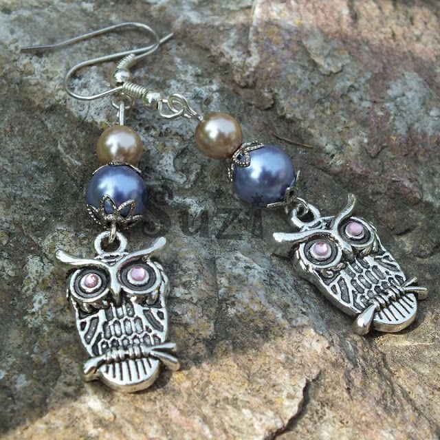 Handmade owl earrings