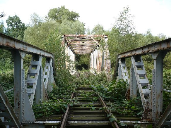 Abandoned railway bridge over Ziegenhalser Biele, Poland by Mohrau