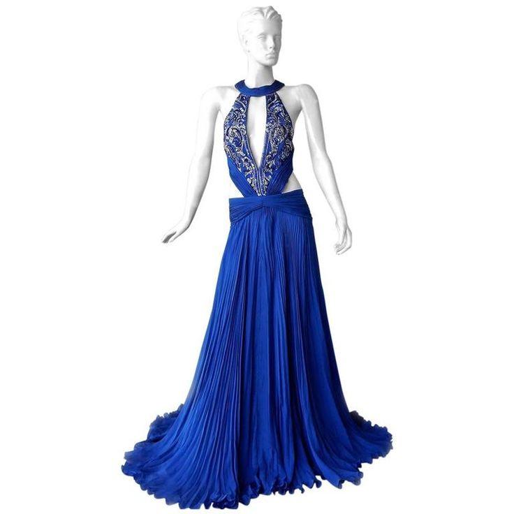 Roberto Cavalli Sapphire Blue Goddess Gown | 1stdibs.com
