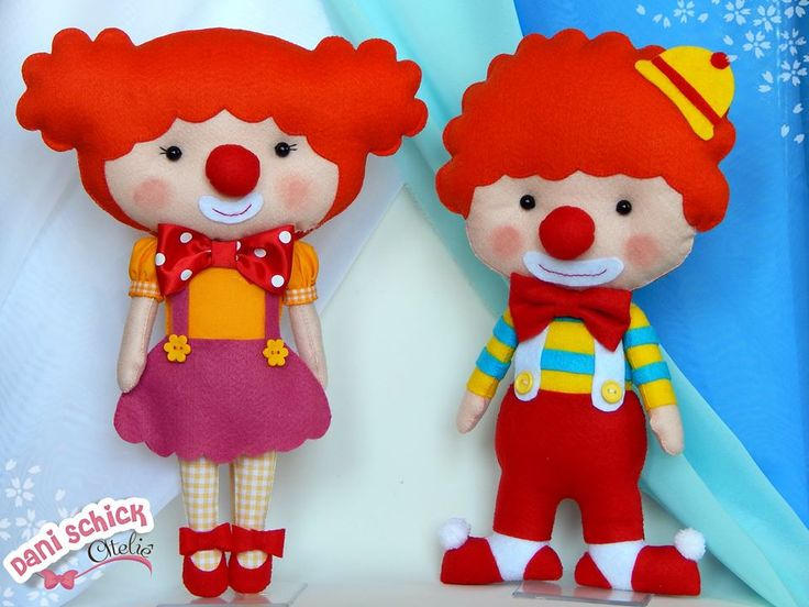 Cutest little felt clowns ever! I love felt!