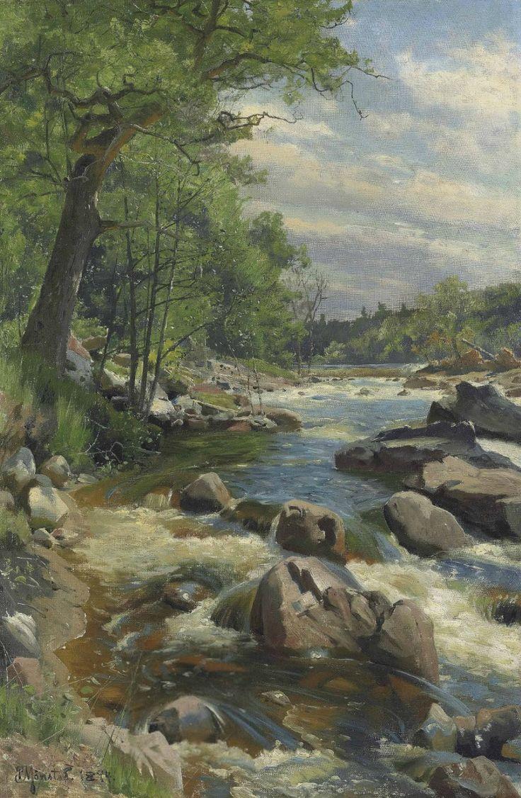 Peder Mork Monsted )Danish, 1859-1941, A Fast Flowin River, 1894, oil on canvas