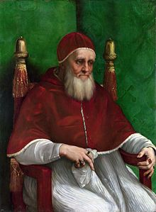 Pope Julius II, Pope from 1503 until 1513, during the very early years of Henry's reign, well before Henry's issues with the Church and Anne Boleyn came into the picture. Julius was responsible for issuing the special dispensation for Henry to marry Catherine of Aragon (needed because she had been previously married to his brother Arthur).