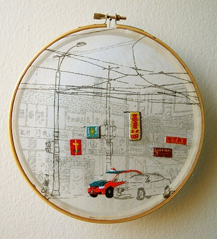 Shuyu Lu, Chinatown - Screen printed, hand embroidery