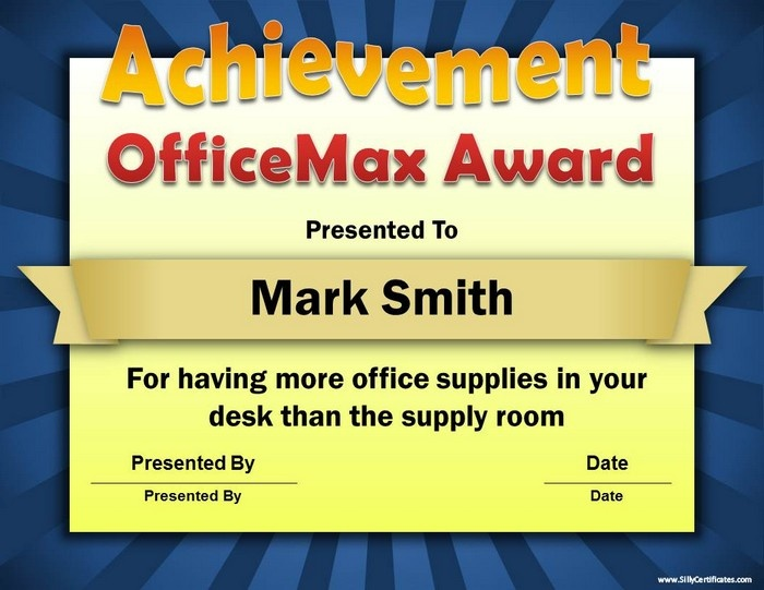 funny office awards free sample awards available at wwwsillycertificatescom more