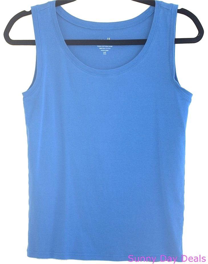J. Jill Womens Tank Top Pima Cotton Sleeveless Blue Petite Cami Shirt M  #JJill #TankCami #Casual