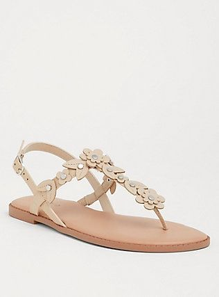 3393561c4b55 Nude Floral T-Strap Sandal (Wide Width)