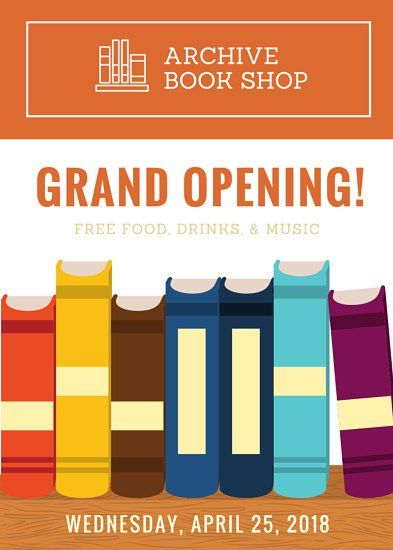 illustration book store grand opening flyer canva templates