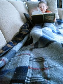 recycled wool sweater blanket, wool sweater projects