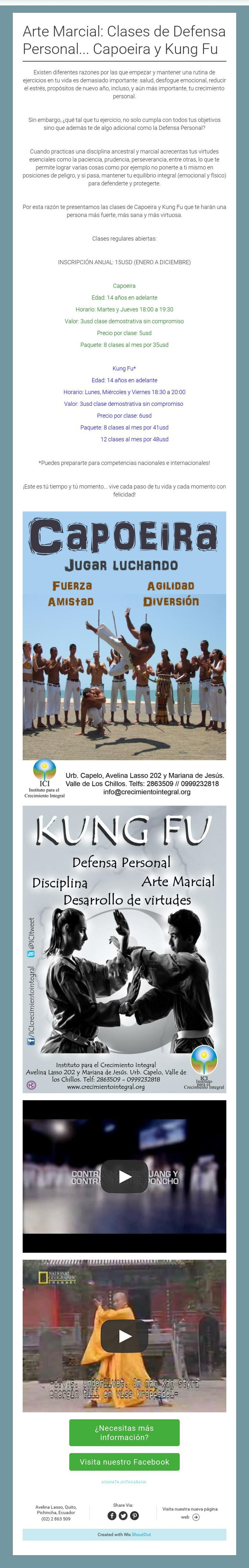 Arte Marcial: Clases de Defensa Personal... Capoeira yKung Fu