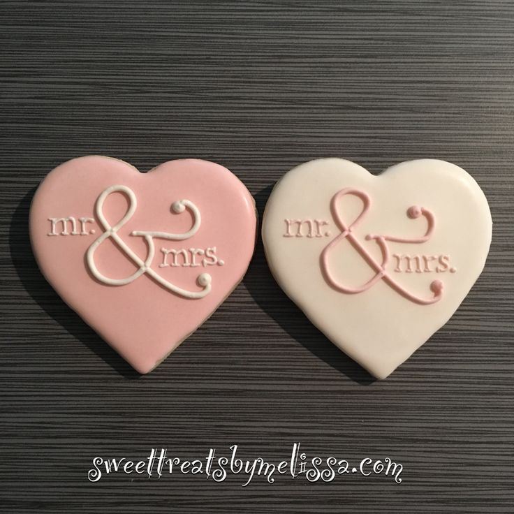 Mr. & Mrs. Bridal shower and wedding cookies, nice and simple