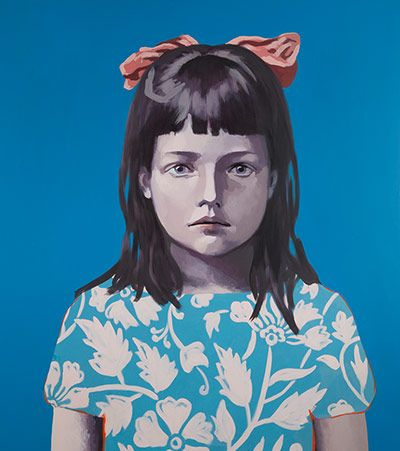 Claerwen James    Girl in Blue with Pink Ribbon 2012