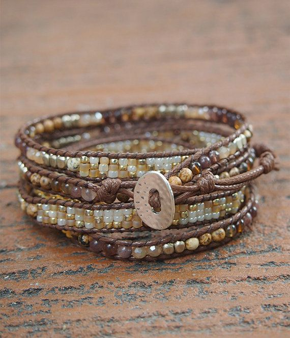 Chocolate brown stone mix Wrap bracelet, Seed beaded, Boho Wrap Bracelet, Beadwork bracelet. ✧ Length : 82cm with adjustment. ✧ Closure : Button ✧ Fits a 6 to 7 inch wrist wrapped 5 times. . PLEASE NOTE : The handcrafted nature of this product will produce minor differences in design,