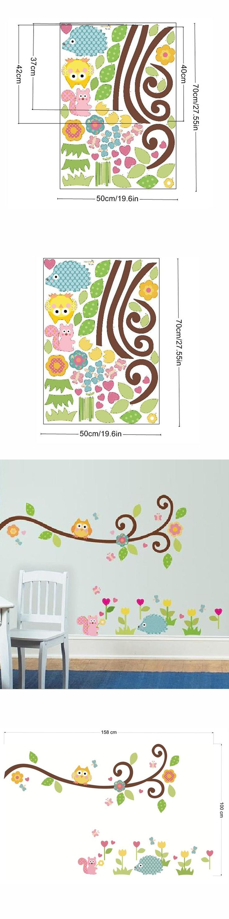 ehome owl on swirl tree wall stickers for children hedgehog flowers wall decals vinyl diy nursery