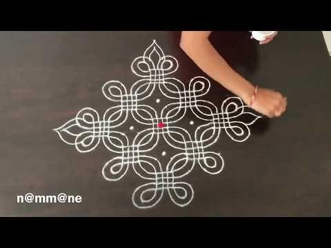 Fusion of Padi kolam and Freehand rangoli || 5-5 dots padi Kolam - YouTube