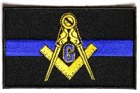 Masonic Thin Blue Line For Law Enforcement PATCH - 3.5x2.1 inch