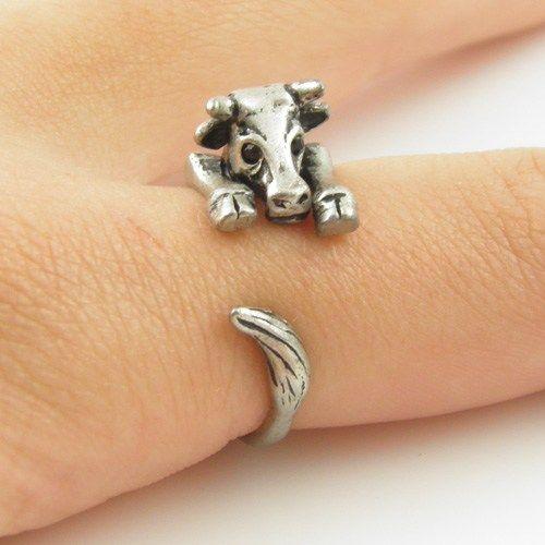 Silver Cow Wrap Ring        | KejaJewelry - Jewelry on ArtFire